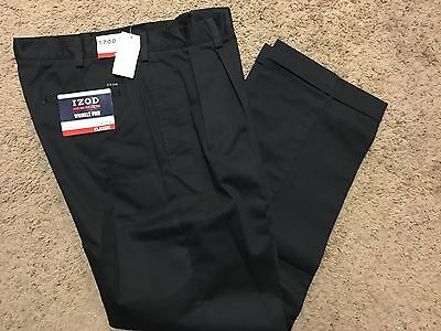 NWT IZOD American Chino Classic-Fit Khaki Double Pleat Pant Navy 33X30 MSRP$50