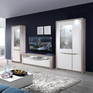 Details zu Wohnwand Saint Tropez Anbauwand Wohnzimmer weiß Hochglanz und  Sandeiche mit LED