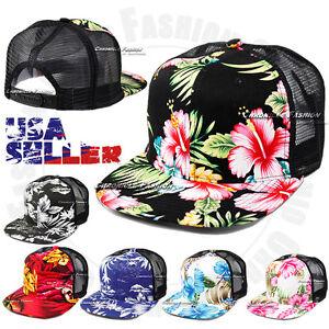 Image is loading Hawaiian-Baseball-Snapback-Cap-Tropical -Mesh-Trucker-Floral- 5da4ff5dc3f