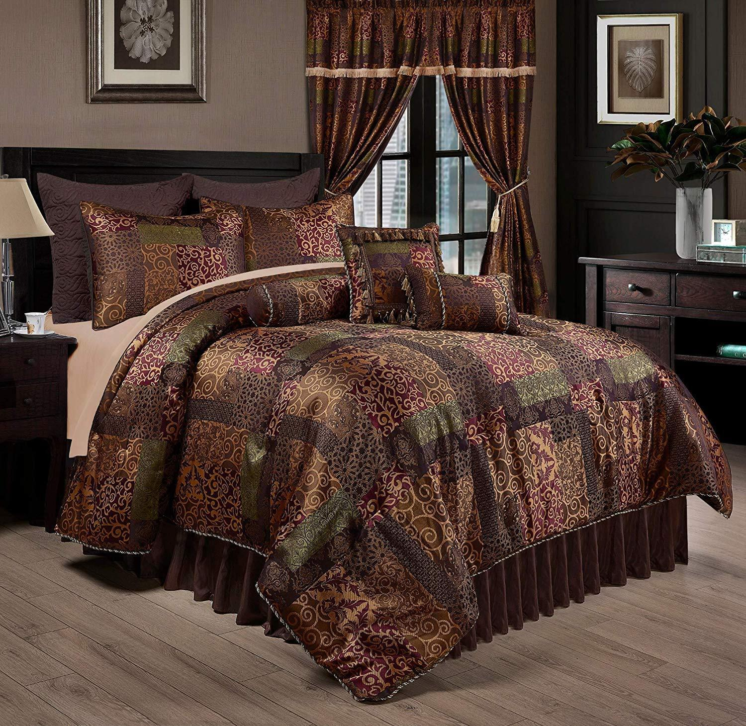 Luxurious Silky Multi-Farbes Jacquard 9 pcs Cal King Queen Comforter or Curtain