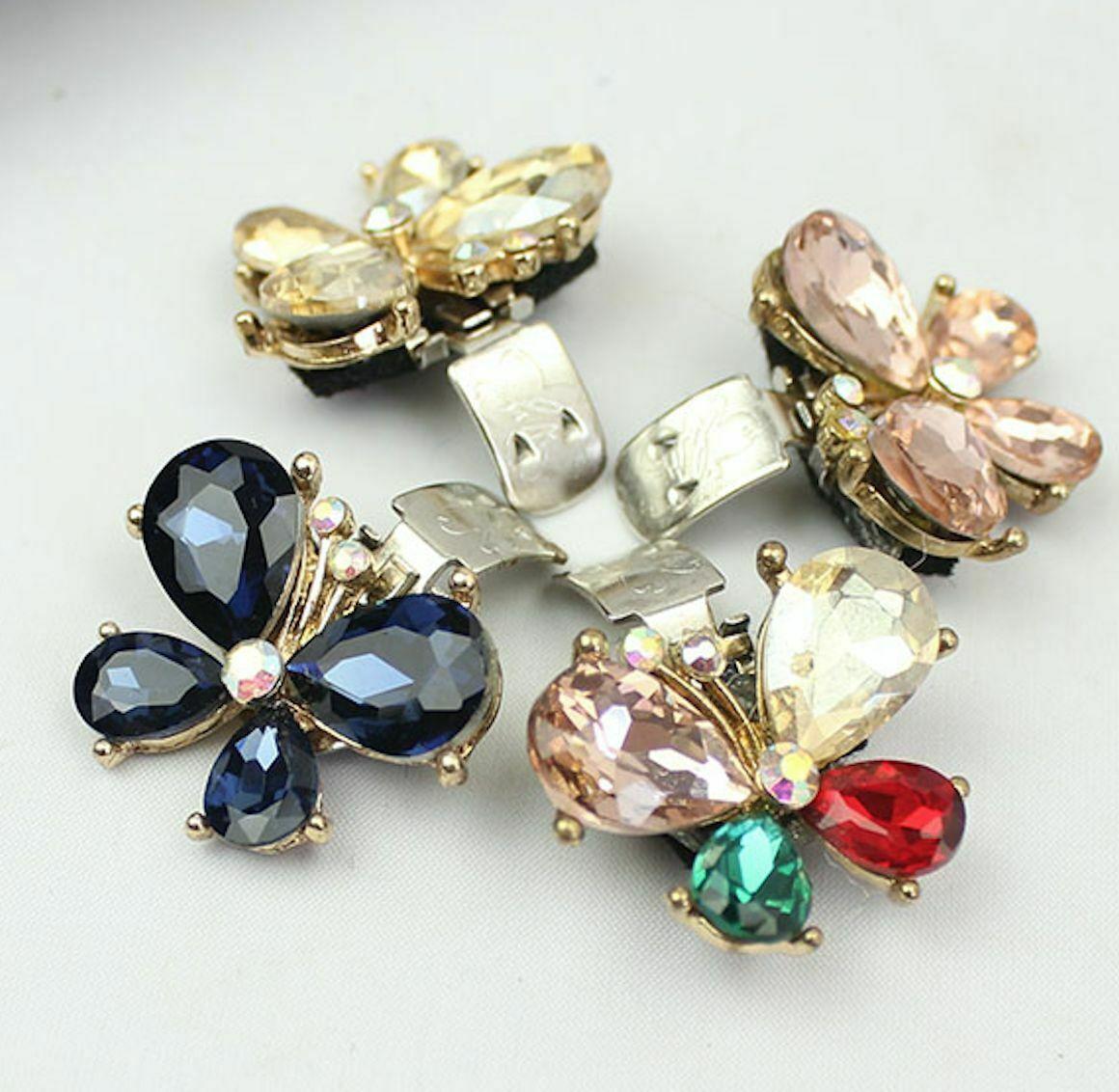 2 Pcs Mini Rhinestone Crystal Butterfly Wedding Sandals High Heel Shoe Clips