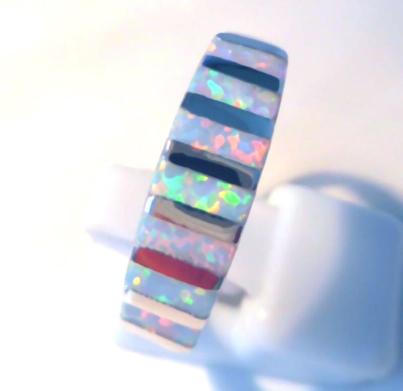 **new**stunning White Fire Opal Band Stripe Ring Uk Size N / Us Size 7