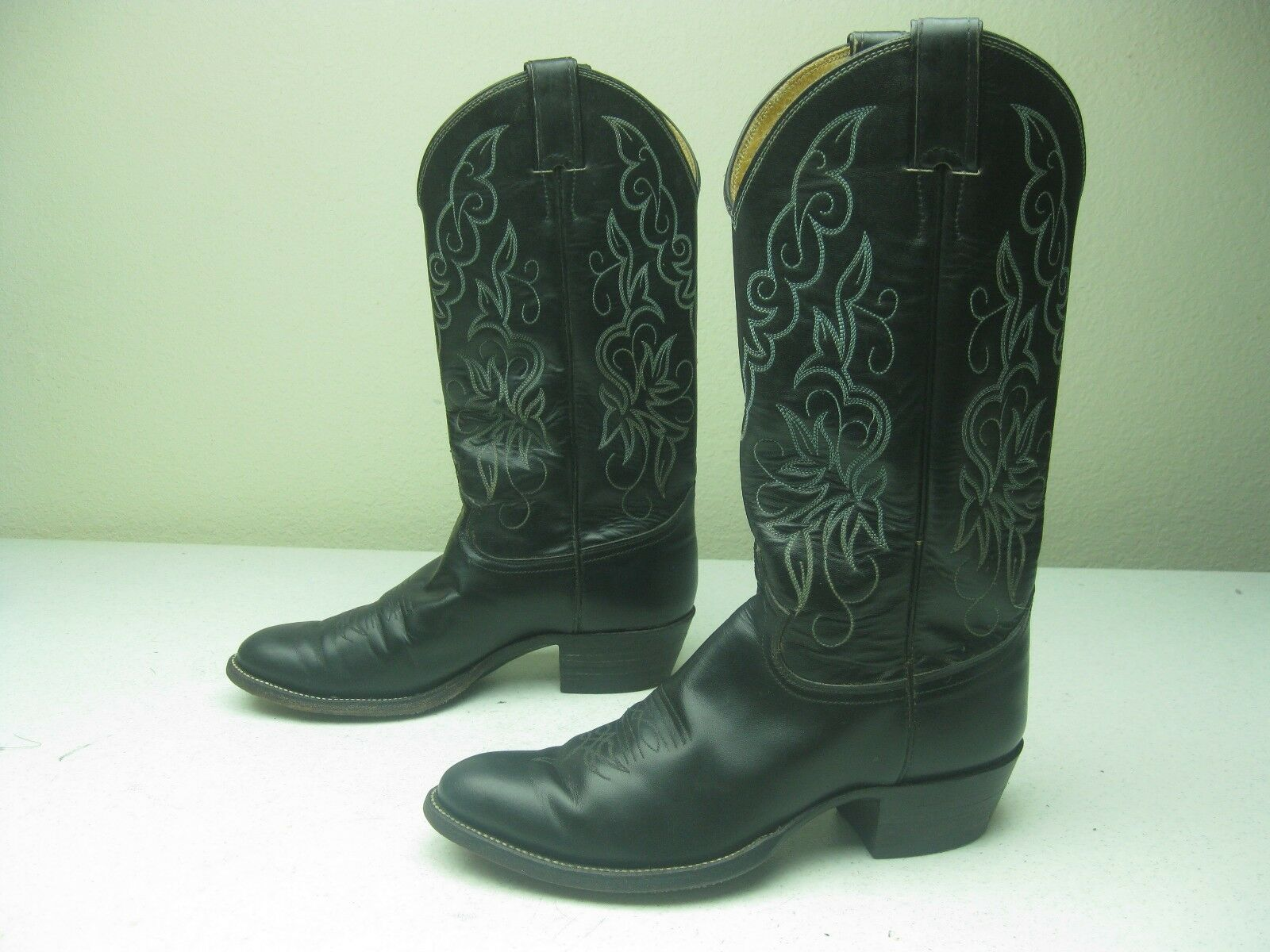 JUSTIN STYLE 5408 COUNTRY WESTERN  BLACK COWBOY BOOTS 8 D MADE IN USA