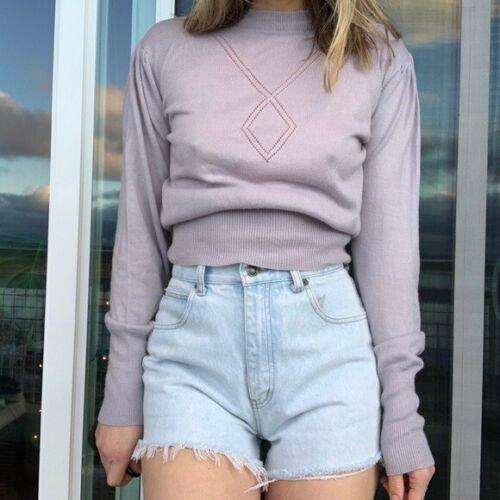 Vintage Pointelle Puff Sleeve Sweater Lavender Sup