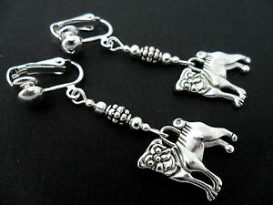 A-PAIR-OF-TIBETAN-SILVER-DANGLY-PUG-DOG-CLIP-ON-EARRINGS-NEW