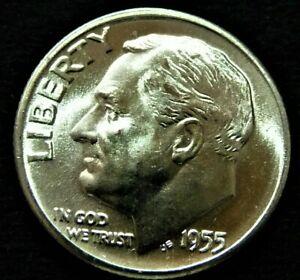 FT* //// 90/% Silver 1 *Full Torch 1955-D Roosevelt Dime //// Gem BU
