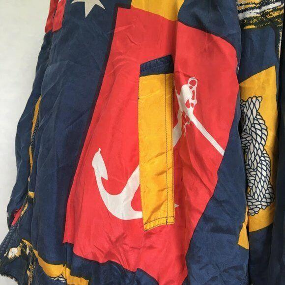 Vtg Bogari 100% Silk Bomber Nautical Anchor Bomber - image 5