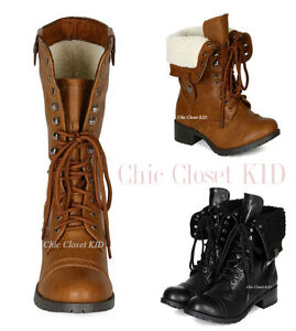 Womens Ladies Lace Up Warm Fleece Lined Girls Military Style Ankle Combat Boots