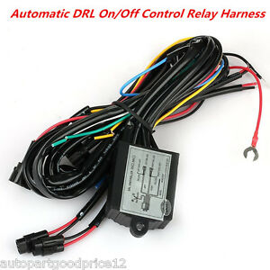 LED Daytime Running Light DRL Relay Harness Auto On//Off Dimmer Control Switch