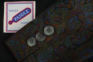 Naples-Paddle-Custom-Brown-Blue-Allover-Paisley-Cotton-STUNNER-Sport-Coat-Sz-48R