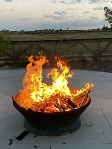 Genuine-Cone-Rock-Crusher-Liner-Heavy-Steel-Fire-Pit-4-039-5-039-Rustic-For-wood-Gas