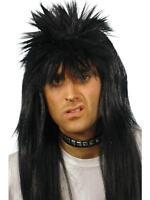 Mens Rocker Punk Wig Spiky 80s Long Black Straight Hair Singer Mullet Adult