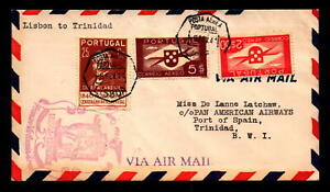 Portugal-1941-First-Flight-Cover-to-Trinidad-L8321