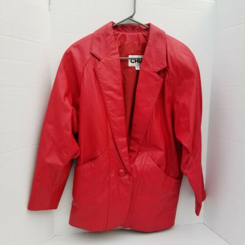 Vintage CHIA Size XS 80's Red Oversized Lined Leat