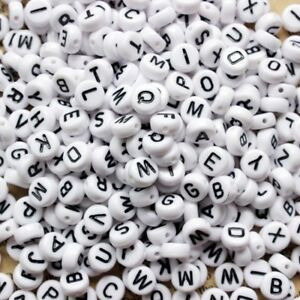 100 Letter Y acrylic round alphabet beads white and black