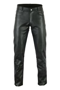 Black-Tab-Classic-Harley-Style-Motorcycle-1-3Thick-Strong-Leather-5-Pocket-Jeans