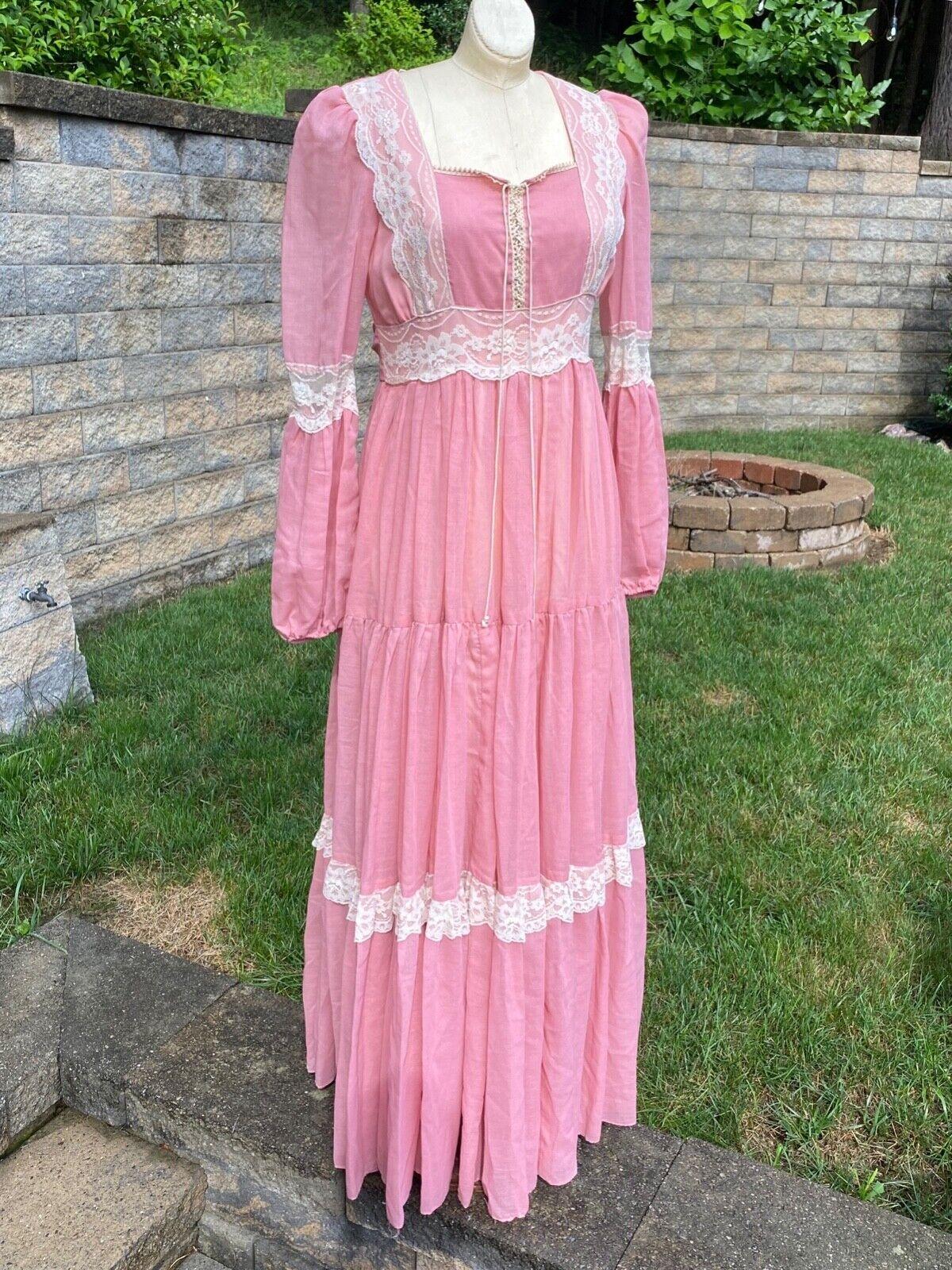 Vintage Gunne Sax Prairie Dress Long Dusty Peach … - image 1