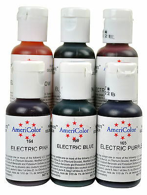 AmeriColor Soft Gel Paste 6 Electric Colors .75oz Cake Decorating Food