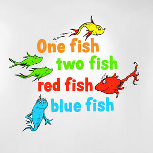 One Fish Two Fish Red Fish Blue Fish Dr Seuss Kids Wall