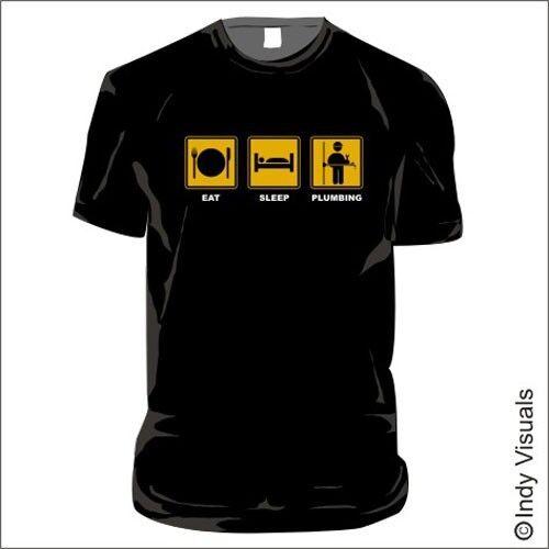 chauffage central ingénieur Drôle T-shirt plombier Mangez le sommeil de plomberie jusqu/' à 5XL