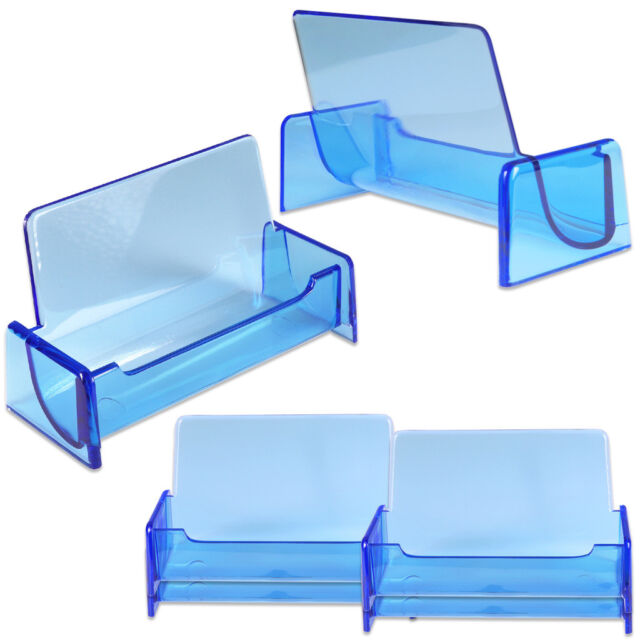 6pcs HQ Acrylic Plastic Business Name Card Holder Display Stand (CLEAR BLUE)