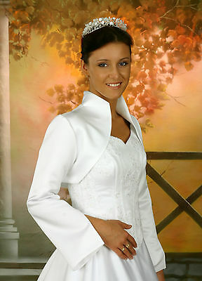 Brautjacke Braut Bolero Hochzeit warm Winter Satin Fell 36,38,40,42,44,46 NEU