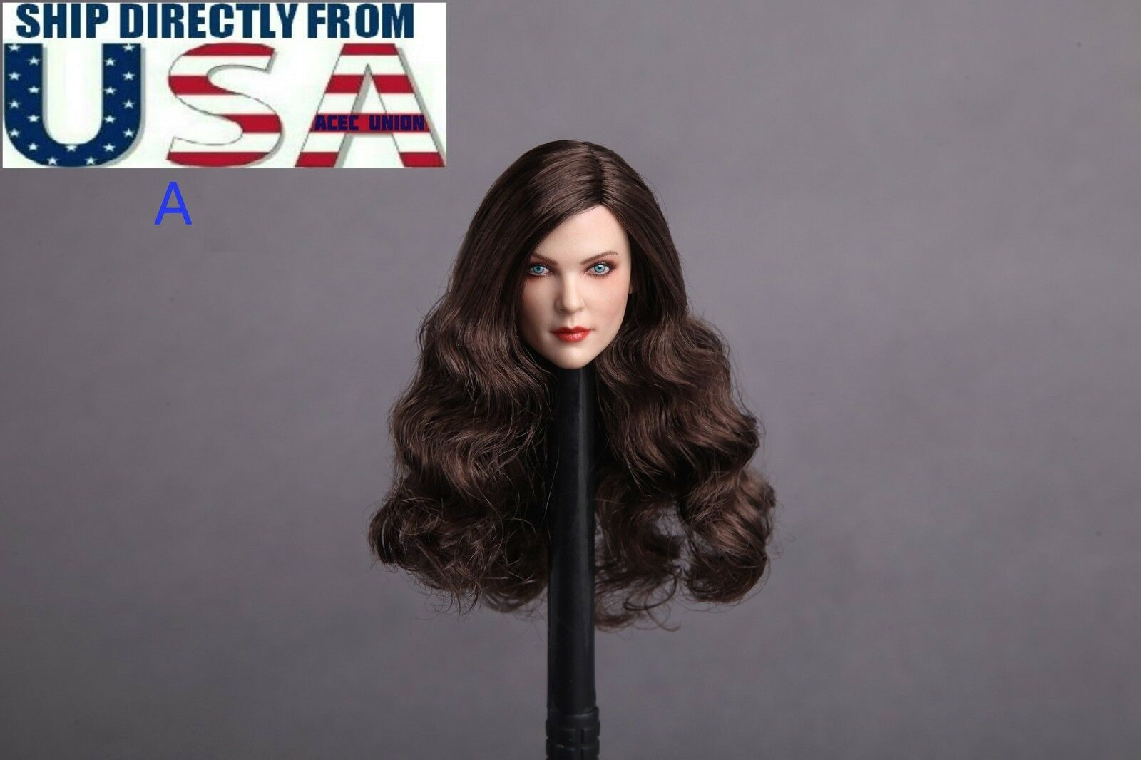 1 6 American Female Head Sculpt A BROWN BROWN BROWN Hair For PHICEN Hot Toys Figure U.S.A. 45b3a1