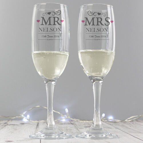 MR /& and MRS Champagne Glass Flute Set Glasses Wedding Gift Boxed PERSONALISED