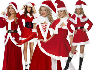 Womens Fleece Miss Santa Costume Christmas Xmas Ladies Fancy Dress Party Outfit