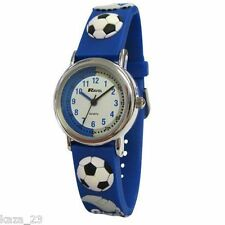 CHILDRENS BOYS FOOTBALL MAD WATCH WITH BLUE PVC STRAP WITH 3D BOOTS NET WHISTLE