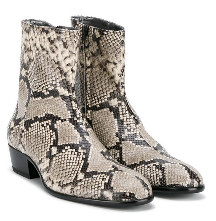 Zapatos De Vestir botas al tobillo para Hombre de Cuero Real Puntera Puntiaguda Motor Roma Piel De Serpiente De Cremallera