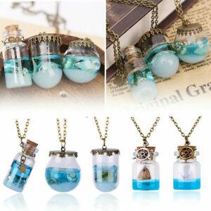 Neu-Vintage-Glaskugel-Anhaenger-Halskette-Ozean-Muscheln-Seestern-Wishing-Flasche