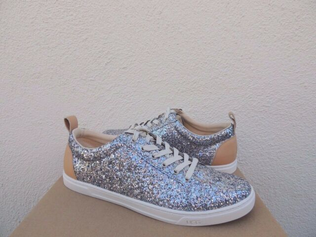 UGG KARINE SILVER MULTI CHUNKY GLITTER LACE-UP SNEAKERS, US 8/ EUR 39