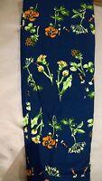 Tc Lularoe Blue Coral Green Floral Tc Flower Row Leggings Print