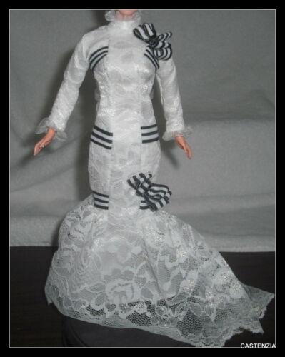 DRESS MATTEL BARBIE MY FAIR LADY ELIZA DOOLITTLE SLIM LACY WHITE AND BLACK GOWN