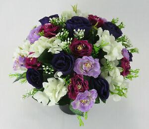 Artificial/Silk flower Grave Arrangement in memorial Crem pot All round flowers