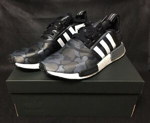 more photos 19a07 6e1c5 Image is loading New-adidas-x-BAPE-NMD-R1-Black-Army-