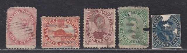 Canada SG 29//43 Scott 14-19 Used 1859 Cents Issue Ugly Space Fillers