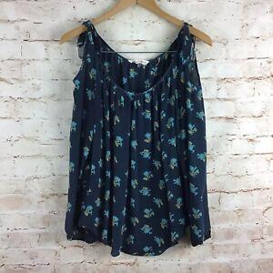 Rebecca Taylor Blue Floral Silk Cold Shoulder Blouse Top Size 8