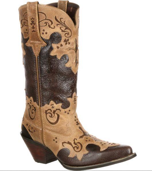Crush by Durango Women's Cross Overlay Western Cowgirl Boot (DCRD138) MediumFIT