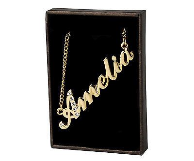 """18K Gold PlatedPersonalised Czech Rhinestones Necklace With Name /""""Brooklyn/"""""""