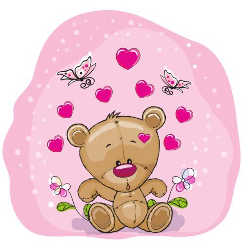 KB08 Bügelbild Bügeltransfer Aufbügler Sweet Teddy in love Liebe DIN A4 oder A5