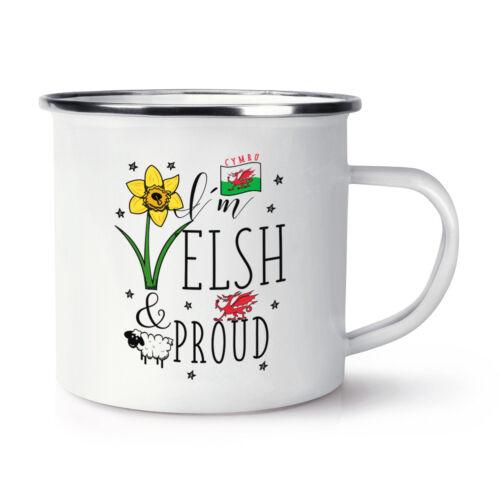 Estoy galeses y orgullosa Retro Esmalte Taza Taza-Gales Bandera Rugby Fútbol