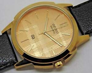 seiko-quartz-men-gold-plated-golden-dial-nice-leather-strap-japan-watch-run