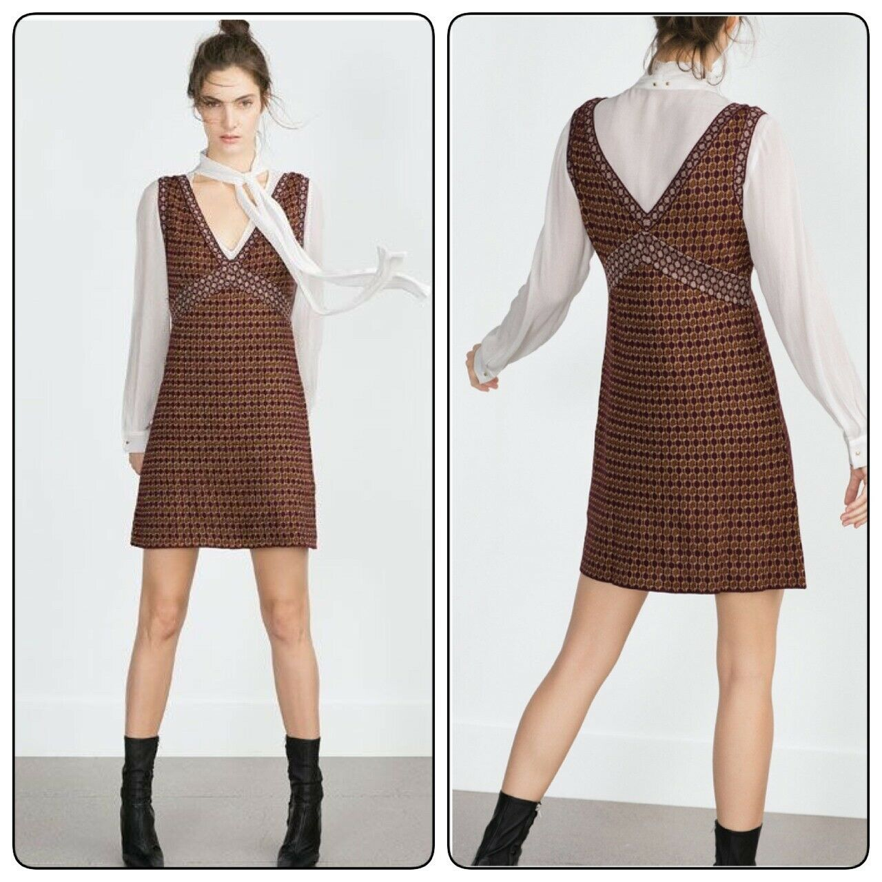 ZARA MICRO JACQUARD KNIT DRESS braun SLEEVELESS RETRO TILE 70s SHIFT PRINT S M