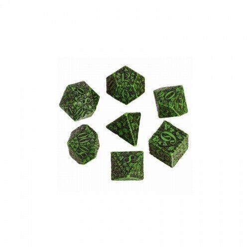 Forest 3D Green und black Dice Set 7