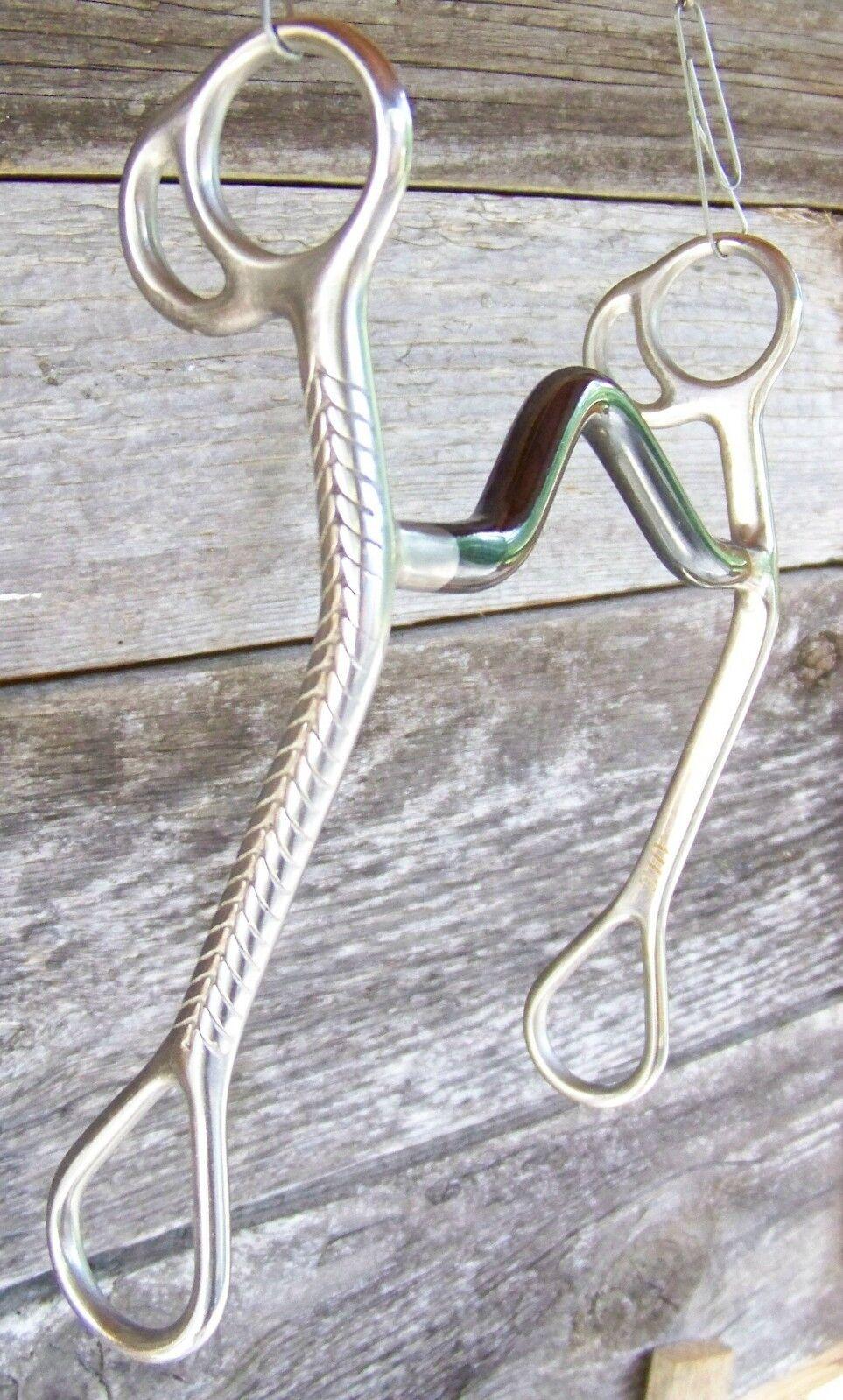 Bit - SS Curb w SI Medium Port, Rope Cheek