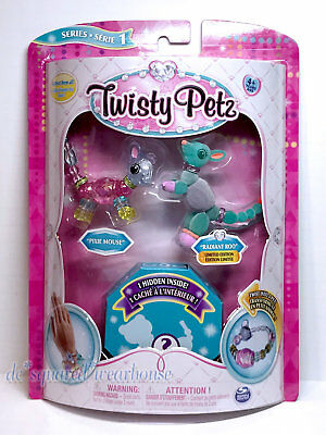 3 Twisty Petz Bracelet Set Pixie Mouse Radiant Roo Flocked Surprise Pets Fuzzy