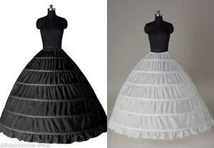 White 6 HOOP Wedding Ball Gown Crinoline Bridal Dress Petticoat Skirt Underskirt