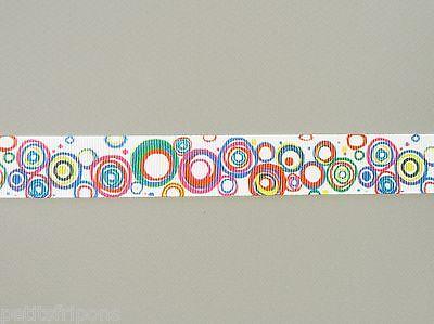 Ruban gros grain imprimé motifs ronds multicolore largeur 22mm longueur 2 mètres